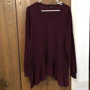 Purple v-neck shark bite sweater w/ silk underlay